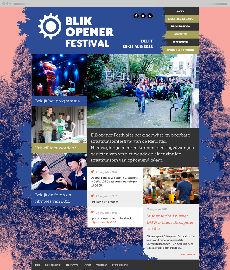 Homepage of the 2012 website