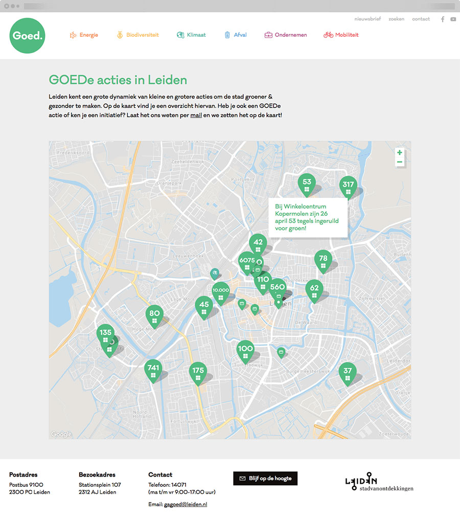 A map showing sustainable initiatives in the city of Leiden