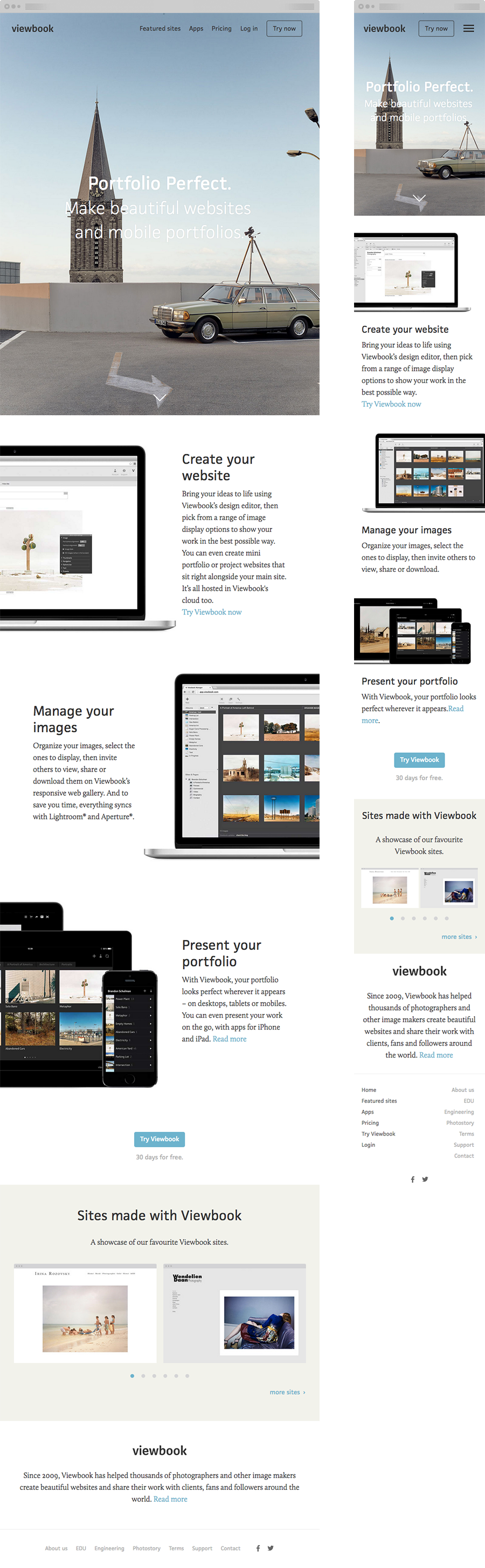 The homepage on tablet and mobile