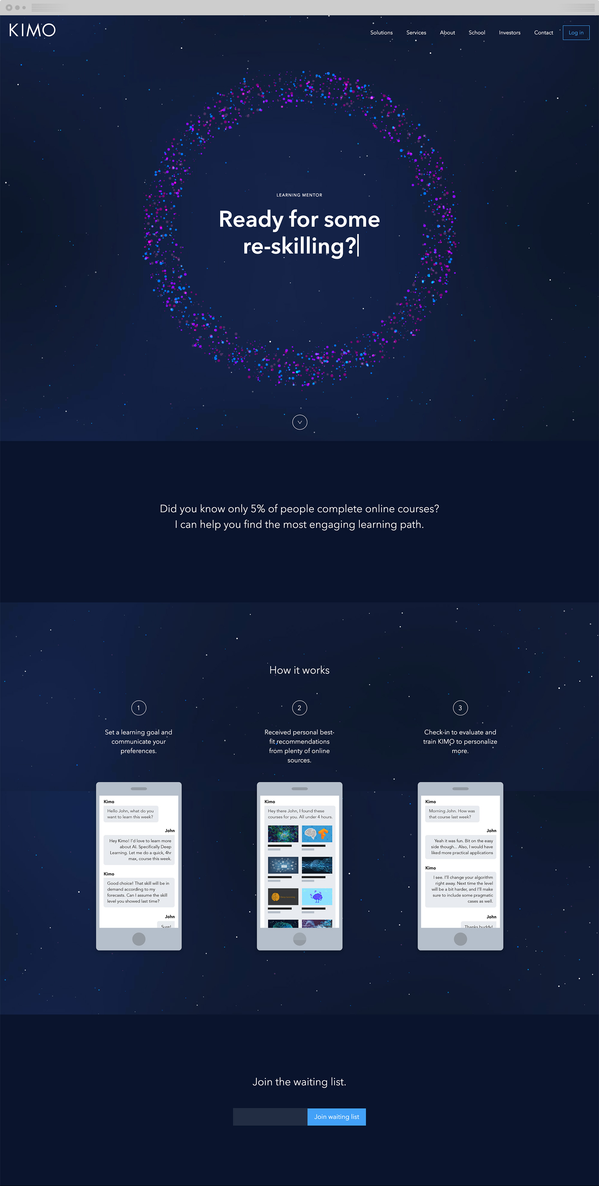 The landing page for Kimo Learning Mentor