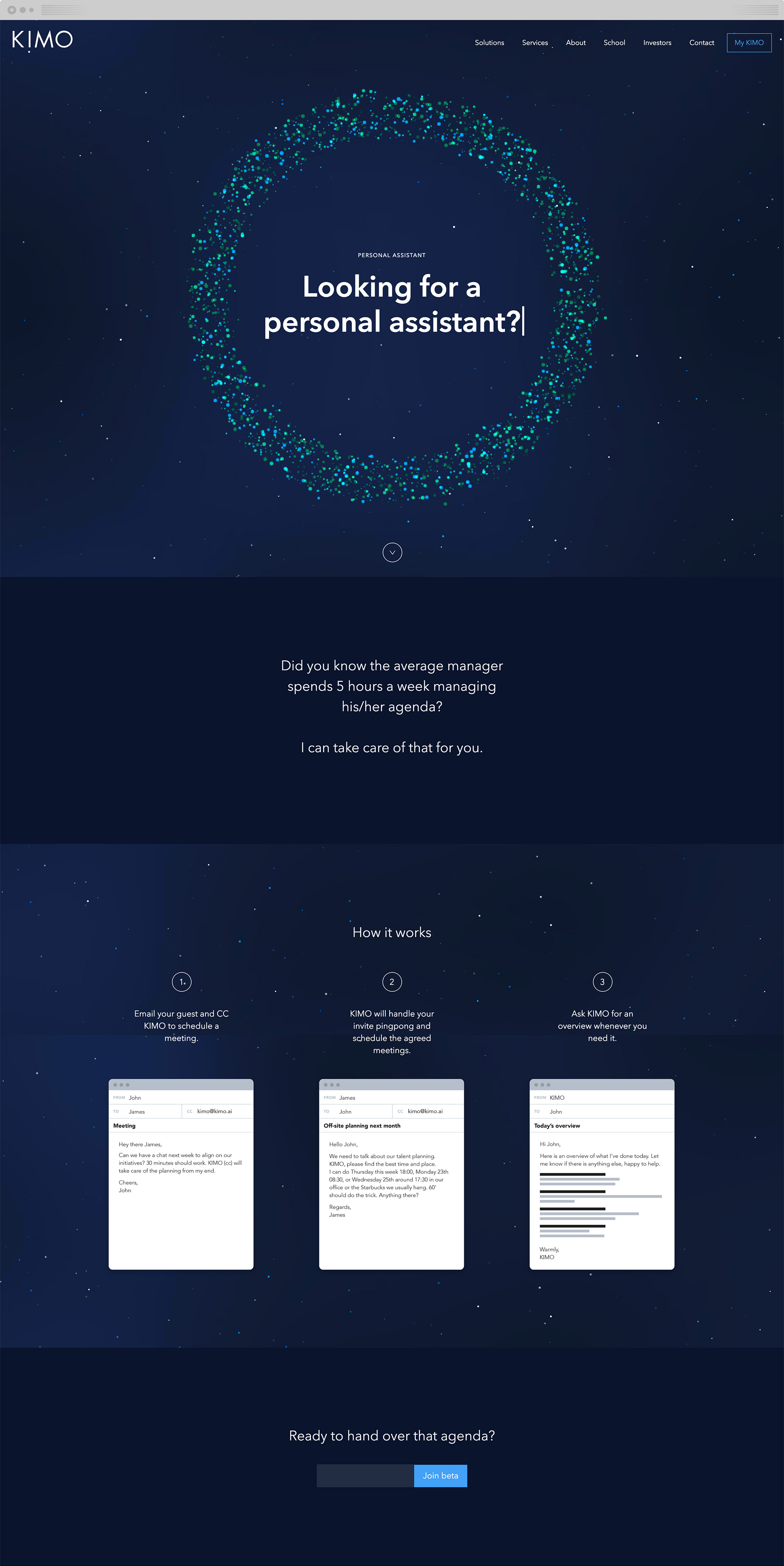 The landing page for Kimo Personal Assistant