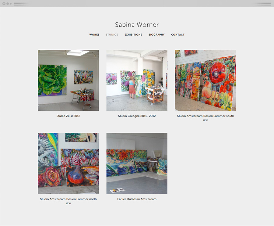 Overview of photos of Sabina's studios